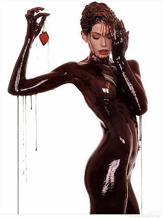naked girl covered in semen