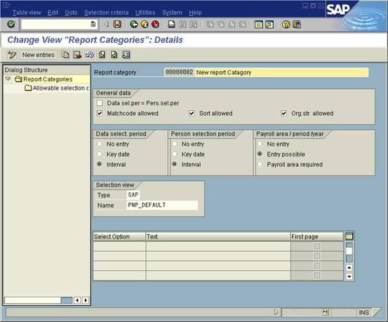 Create SAP HR report category for logical database selection within - hr report