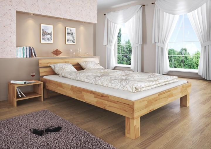1 60 Bett Zwei Lattenroste  Massivholz Doppelbett Buche Natur 160x200 Ehebett Rollrost