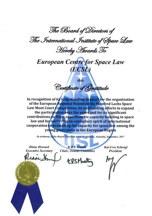 Space in Images - 2017 - 10 - ECSL - Certificate of Gratitude - gratitude certificate