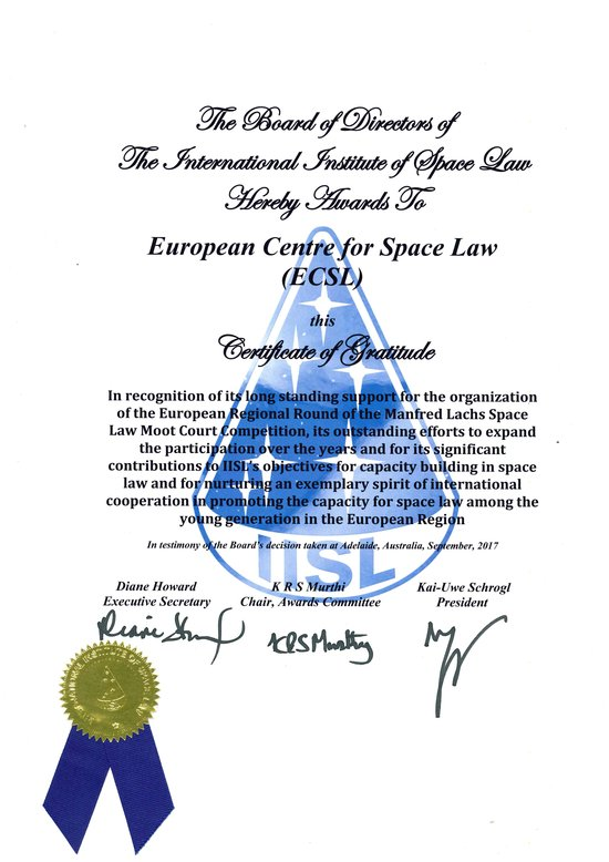 Certificate of Gratitude awarded to the ECSL by the International