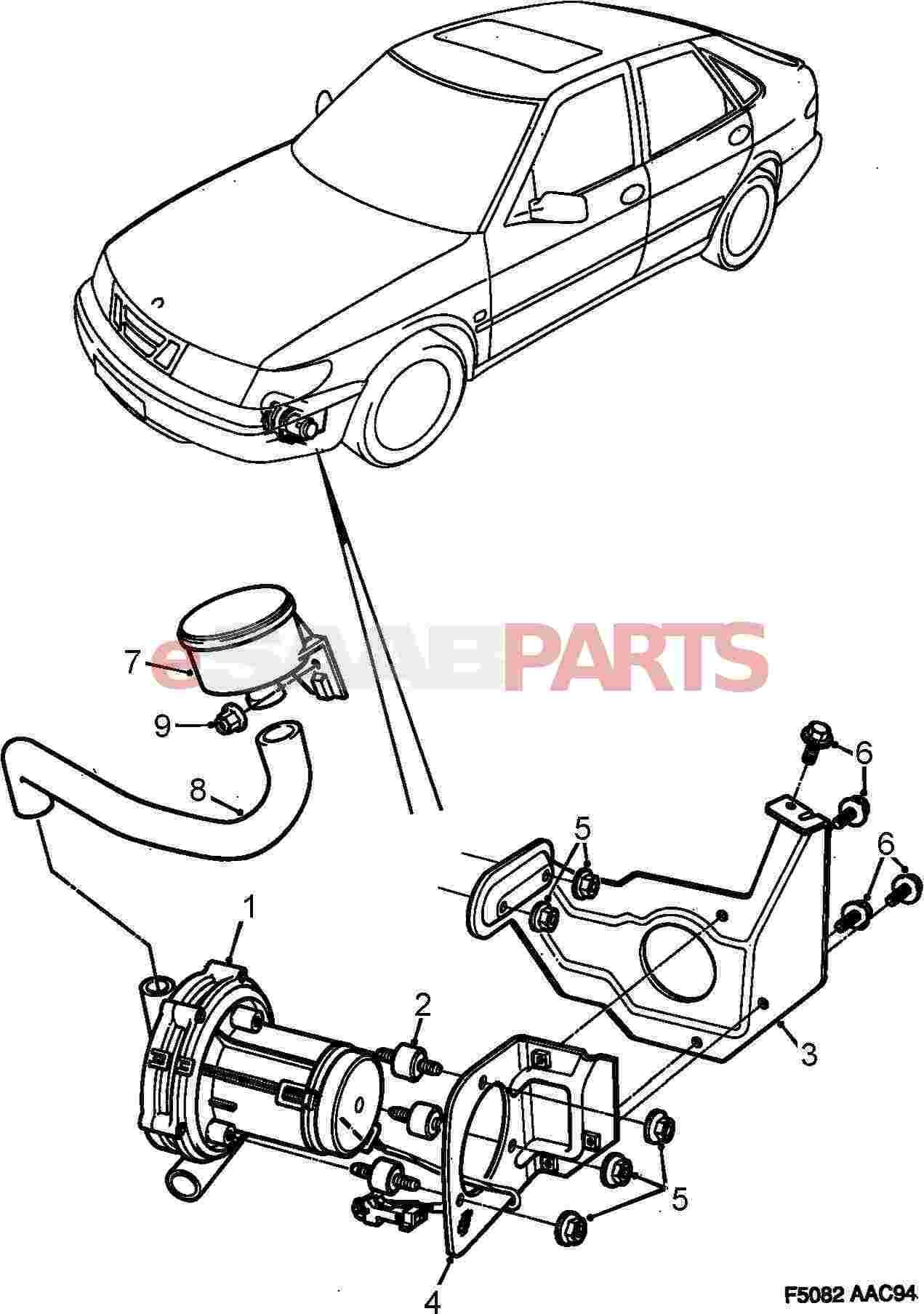 saab air pump diagram