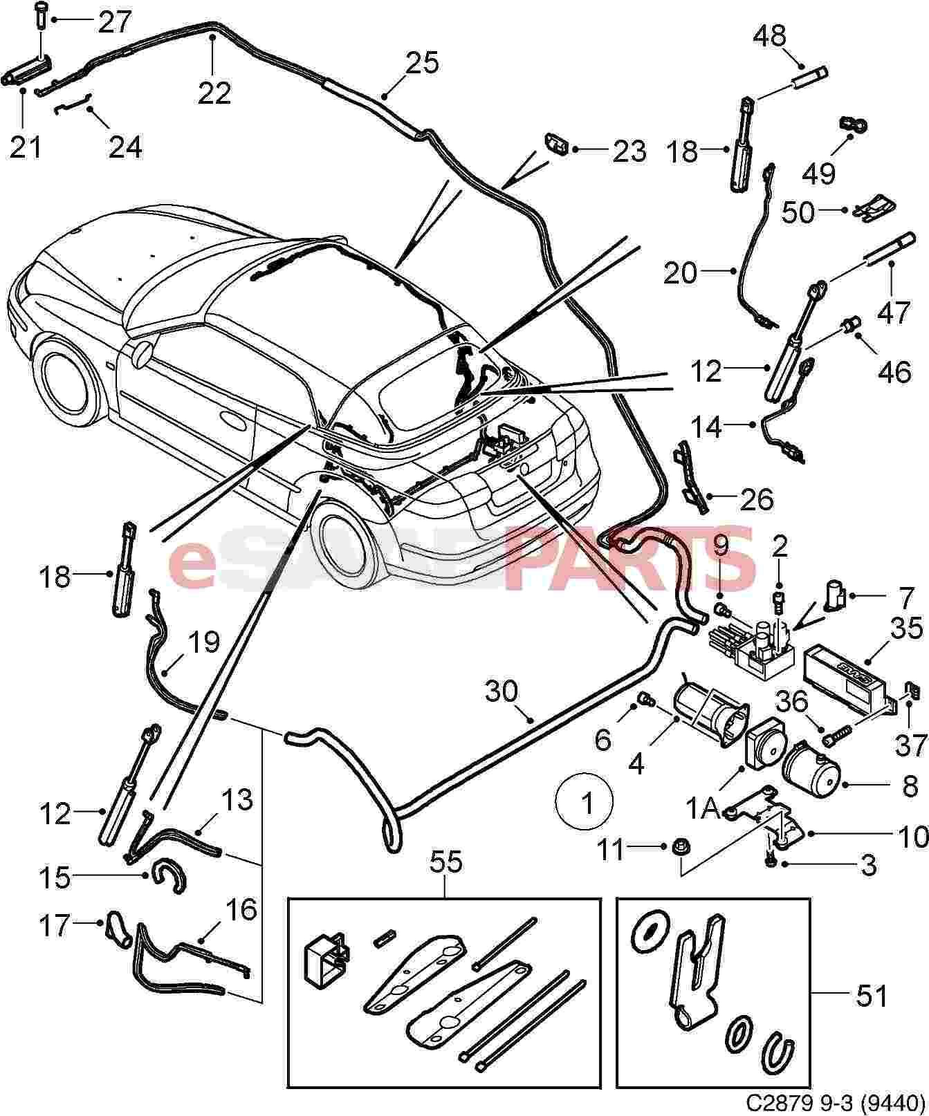 saab 93 exhaust parts saab 9 3 parts diagram