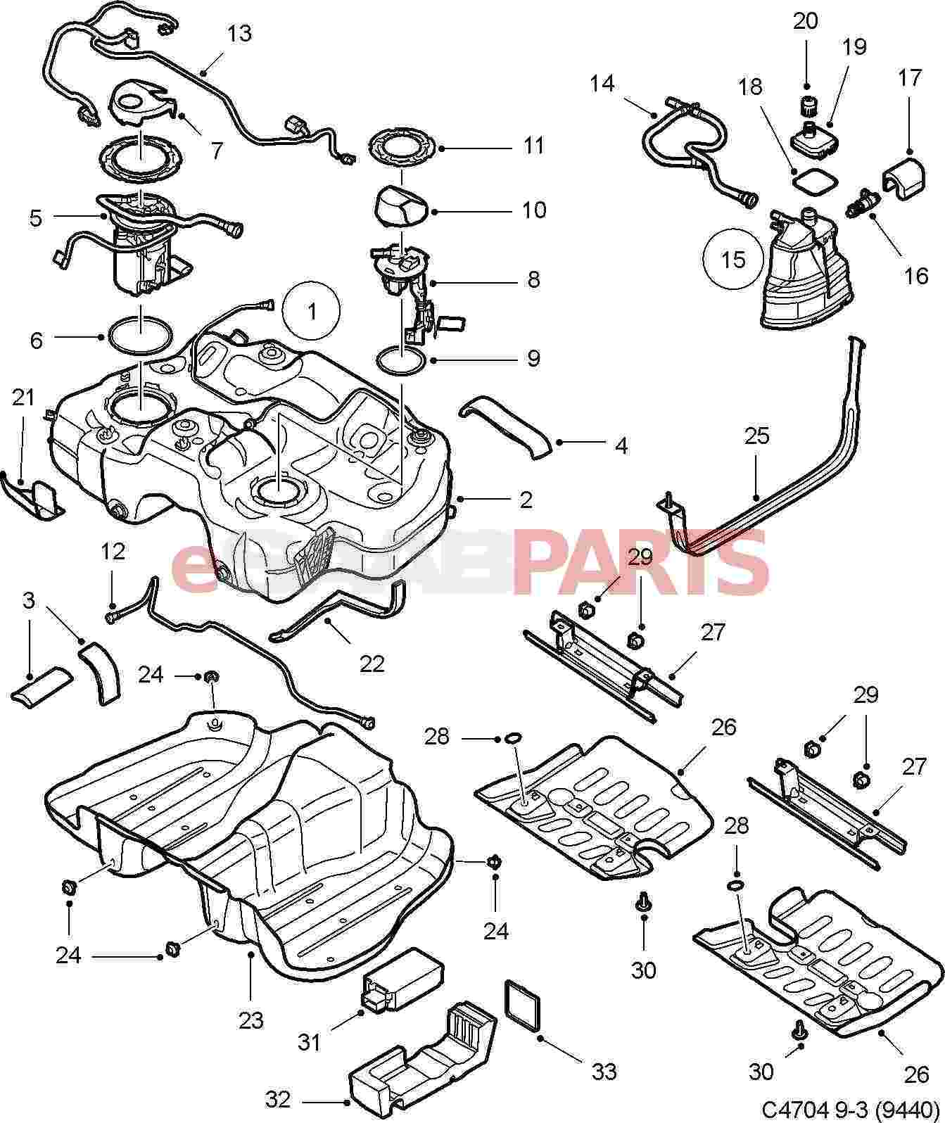 99 saab 9 3 fuel tank diagram