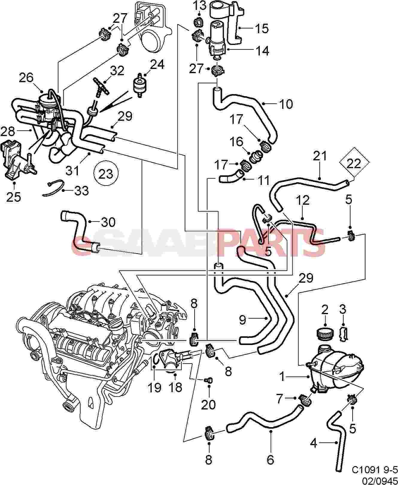 2003 saab 9 3 radiator diagram