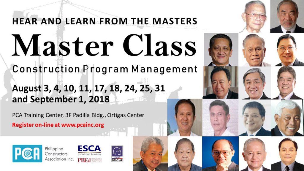 CONSTRUCTION PROGRAM MANAGEMENT MASTER CLASS LAUNCHED AT PCA \u2013 MIT Inc