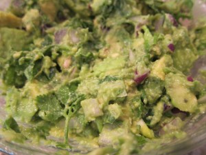 Guac-a-delicious.  I like to slice avocado (long and short ways) and then just smoosh it out of the shell to save time