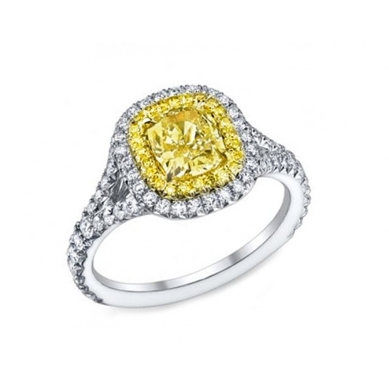 117ct Fancy Yellow diamond pave\u0027 split ring - Fancy Color Diamonds