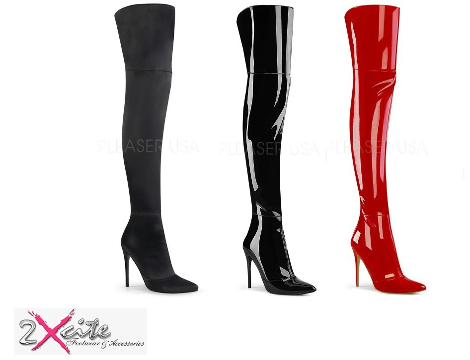 Pleaser Courtly 3012 Stretch Thigh High Boots 5quot Stiletto