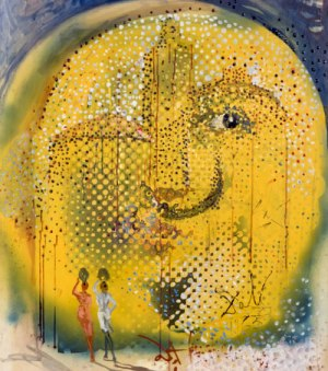 サルバドール・ダリ《ダリの太陽》1965年 油彩・メゾナイト 岡崎市美術博物館蔵 © Salvador Dali, Fundació Gala-Salvador Dalí, JASPAR Tokyo, 2019 E3290 (5/20まで展示)