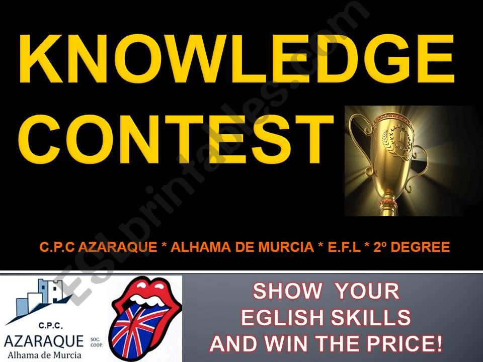 ESL - English PowerPoints KNOWLEDGE CONTEST!
