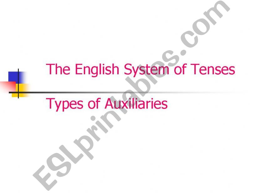 ESL - English PowerPoints The English System of Tenses and Types of
