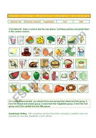 Five Basic Food Groups - ESL worksheet by gisel