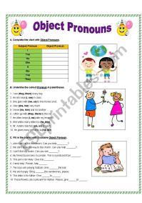Object Pronouns - ESL worksheet by gitasiva