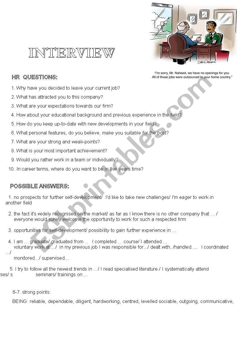 interview questions with sample answers