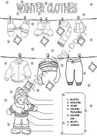 English worksheets: winter clothes