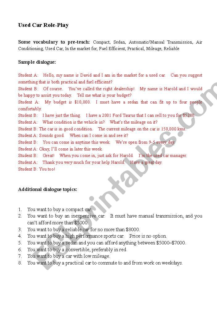 English worksheets Buying Used Car Role-Play