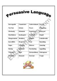 Persuasive Language - ESL worksheet by mcardamone