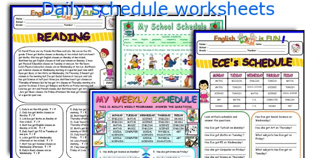 Daily schedule worksheets