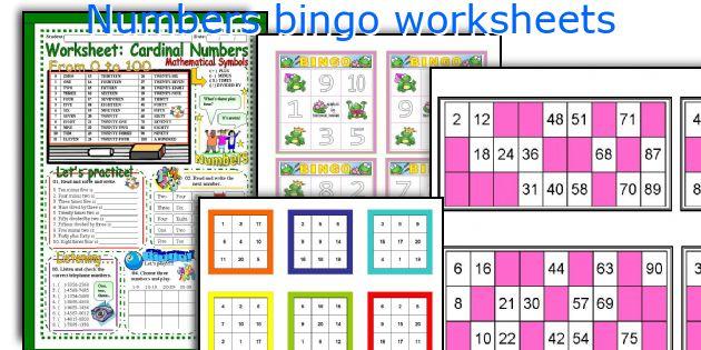 Numbers bingo worksheets