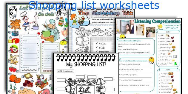 Shopping list worksheets