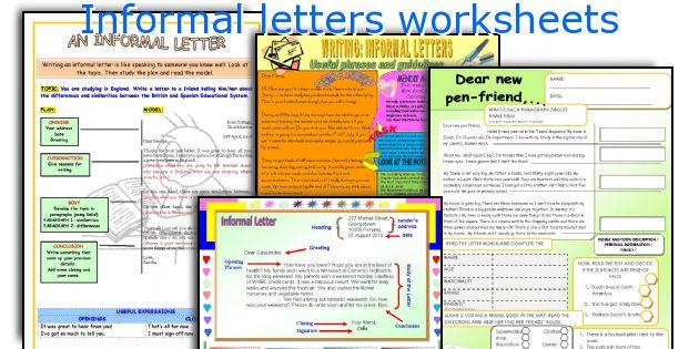 Informal letters worksheets - sample informal letter format
