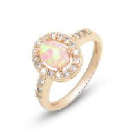 Pink Opal Rose Gold Tone Fashion Ring  espere jewelry