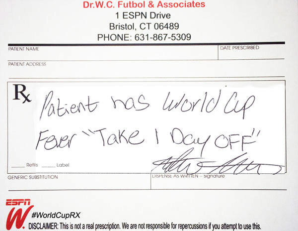 5 World Cup Doctor\u0027s Notes - doctors note