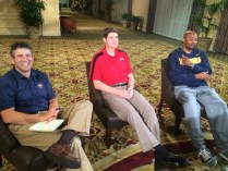 Andy Katz with UNLV head coach Dave Rice (middle) and California head coach Cuonzo Martin. (Photo courtesy of Andy Katz)