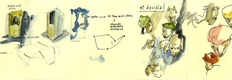 Douala Notebook, 2010 china, matita, acquarello su carta / ink, pencil, watercolor on paper