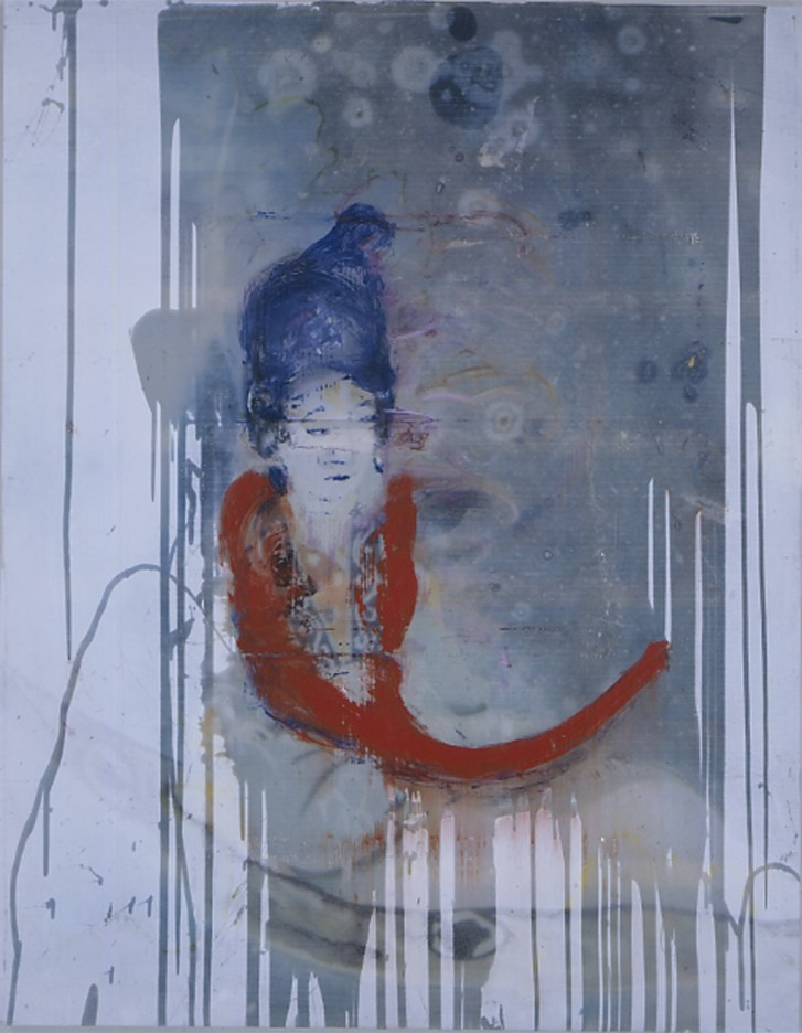 Julian Schnabel, Untitled (Blue Japanese Girl), 2004, olio, cera e resina su poliestere, Collezione privata