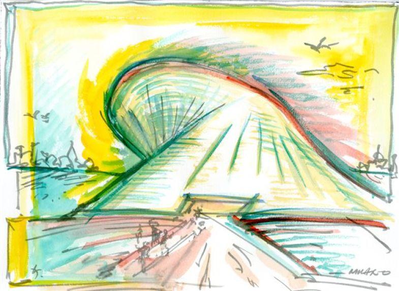 Daniel Libeskind, Fiera Milano Museum, 2008, 30.5x40.6, acquarello su carta