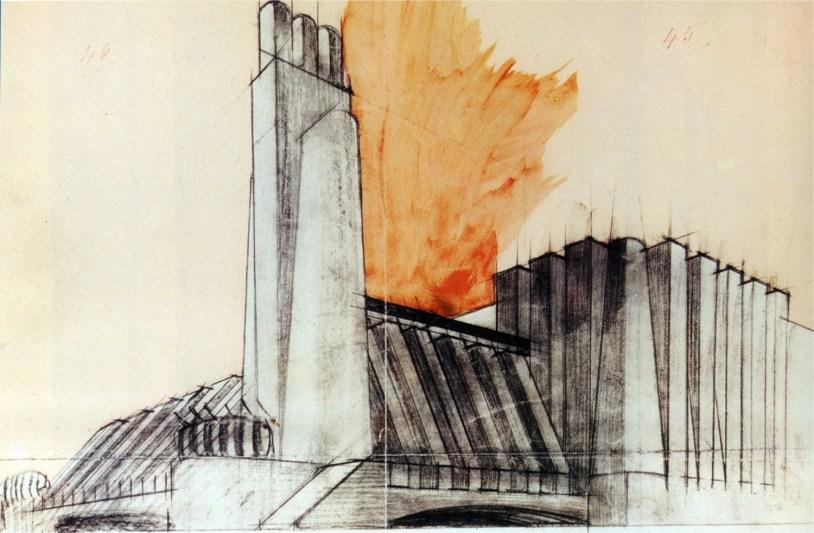 Antonio Sant'Elia, Edificio industriale con torre angolare, databile 1913, matita nera, pastello grigio e acquerello rosso su carta, cm 27.3x41.5
