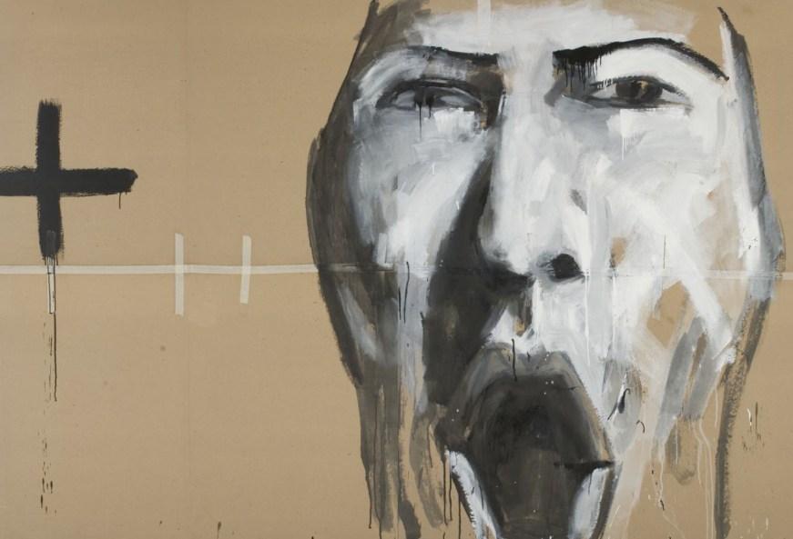 Simone Ferrarini, 2009, pittura su carta da pacchi, 300x150cm
