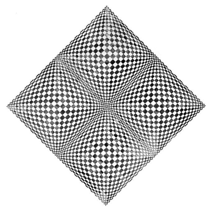 Dadamaino, Oggetto ottico dinamico, 1961-62, alluminio su tavola, cm 120x120
