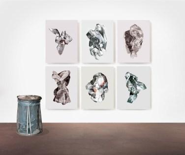 Francesco Irnem, Language is a virus, 2013, sei dipinti a olio su tela, cm 100x75 ciascuno; Home, 2013, ferro e plastica, cm 95x55x55