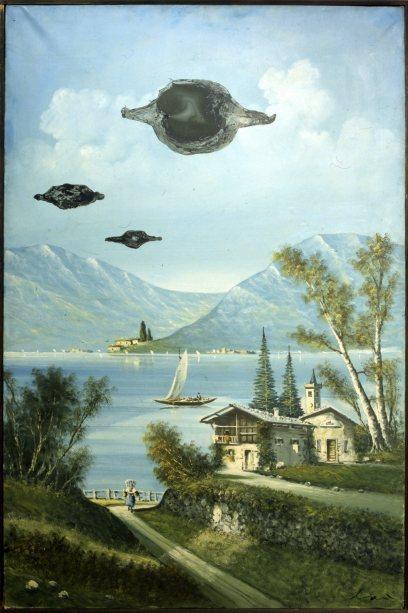 Enrico Baj, Au bord du lac,1959, olio su tela ready-made, 120x80 cm
