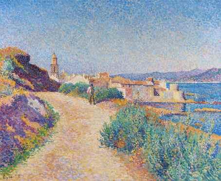 Maximilien Luce, Saint-Tropez, la route du cimetière (Saint-Tropez, la strada del cimitero), 1892, olio su tela, 54.3x65.1 cm, Collezione privata
