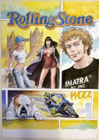 Milo Manara, Rolling Stones / Valentino Rossi, originale di copertina per il fumetto a puntate allegato a Rolling Stones Italia, 2005, matita, china e acquerello su cartoncino, cm 36x51 Courtesy Little Nemo Art Gallery, Torino
