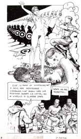 """Milo Manara, Alessio il Borghese Rivoluzionario, tavola n. 9: """"Sempre la morte in faccia"""", matita e china su cartoncino, cm 34x49 Courtesy Little Nemo Art Gallery, Torino"""