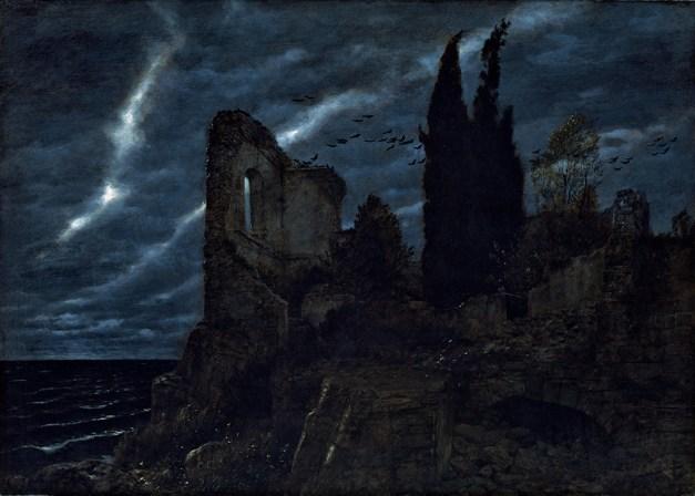Arnold Böcklin, Rovine sul lungomare / Ruinen am Meer, 1880, olio su tela, 100x141 cm, Aargauer Kunsthaus Depositio della Fondazione Gottfried Keller, Aarau Cat. 6