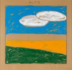 Mario Schifano, Paesaggio anemico, anni '70, acrilico su carta da pacchi, cm. 100x100