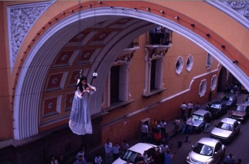 Regina José Galindo, Lo voy a gritar al viento, 1999. Guatemala. Photograph, lambda print on forex, 120x180 cm