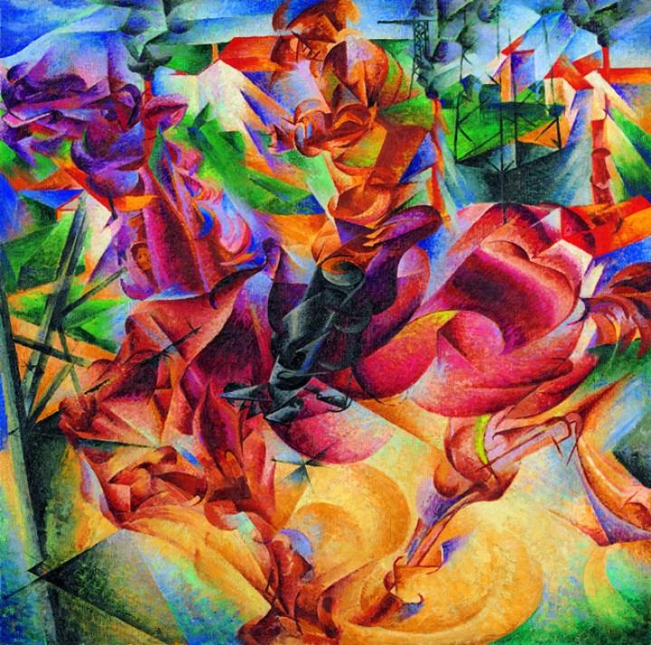 Umberto Boccioni, Elasticity (Elasticità), 1912, Oil on canvas, 100 x 100 cm, Museo del Novecento, Milan, © Museo del Novecento, Comune di Milano (all legal rights reserved), Photo: Luca Carrà