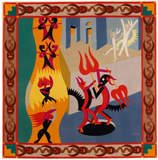 Fortunato Depero, Little Black and White Devils, Dance of Devils (Diavoletti neri e bianchi, Danza di diavoli), 1922–23, Pieced wool on cotton backing, 184 x 181 cm, MART, Museo di arte moderna e contemporanea di Trento e Rovereto, Italy, © 2013 Artists Rights Society (ARS), New York / SIAE, Rome, Photo: © MART, Archivio fotografico