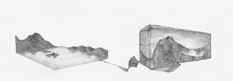 Pierluigi Pusole, Landscape I.S.D., 2014, china su carta, 70x200 cm Courtesy Riccardo Costantini Contemporary, Torino