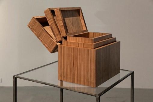 Goldschmied&Chiari, Boite magique, 2014, 3 boxes in chestnut wood, 30x40x25 cm Centro d'arte contemporanea Passerelle, Brest © Aurélien Mole, 2014