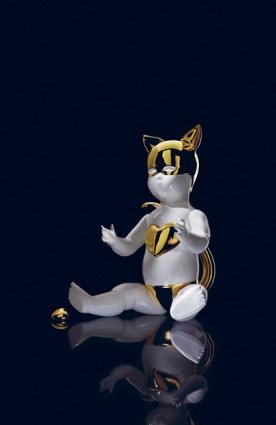 Nika Zupanc, Oh Baby it is a wild world, bianco lucido e dettagli in oro lucido, 35x40 cm, Bosa Ceramiche