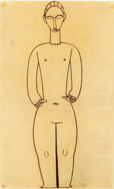Amedeo Modigliani, Hermaphrodite, 1910-1911, matita su carta, Collezione privata