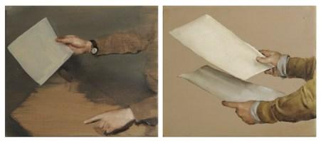 Michael Borremans, The Resemblance, 2006, olio su tela, dittico Foto Paolo Vandrasch